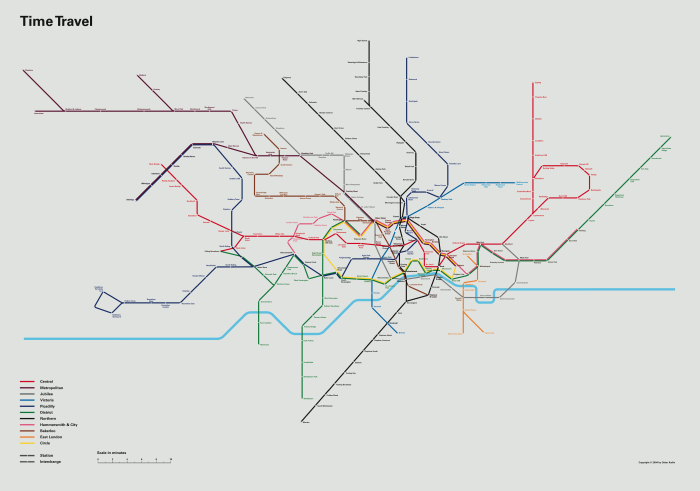 London tube time travel map